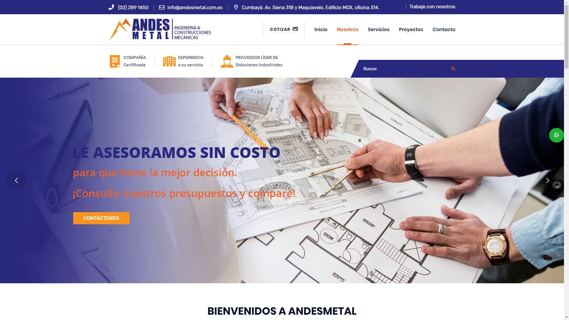 Andes Metal Pagina web empresarial